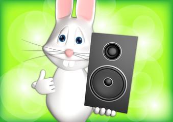 Hase Musik Musikbox Box 3D weiß zeigen Comic