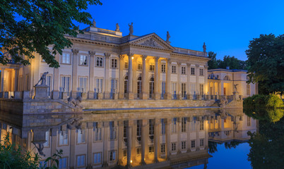 Royal Lazienki Park in Warsaw - Palace on the Water by night