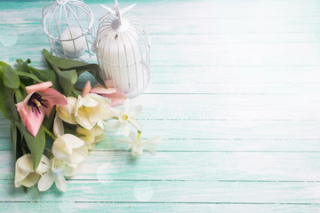 Background with fresh flowers  and candles