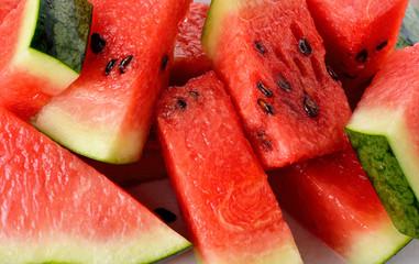 closeup sliced watermelon as background