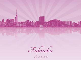 Fukuoka skyline in purple radiant orchid Wall mural