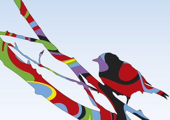 Silhouette psychédélique d'un oiseau sur une branche
