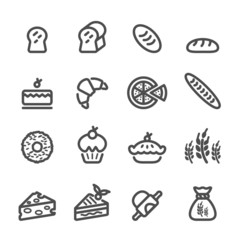 bakery icon set, line version, vector eps10