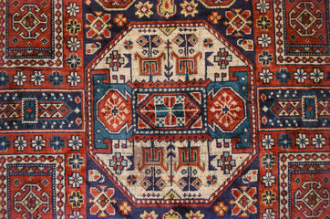 Vintage silky thin carpet with ethnic pattern