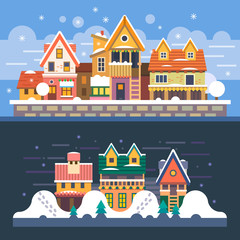 Winter houses. Day and night. Snowfall
