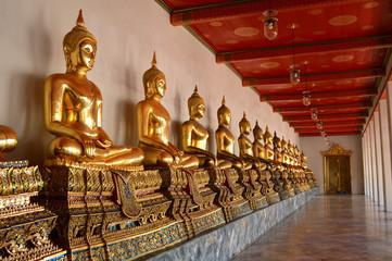 Seated buddha images at Wat Pho, Bangkok,  Thailand