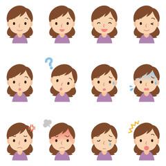 顔 表情 セット 女性