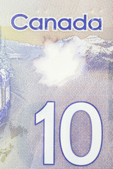 Close up of 10 Canadian dollars
