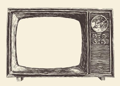 Retro Television Empty Screen Vector Hand Drawn