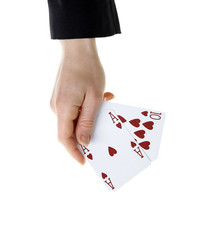 hand holding best classic blackjack combination ten and ace of h