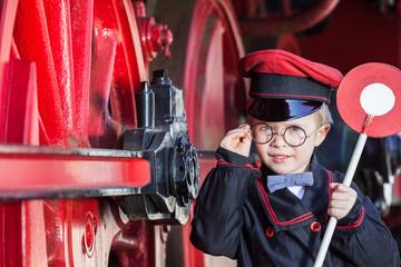 Smiling Train Conductor Boy