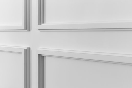White wall molding with geometric shape and vanishing point