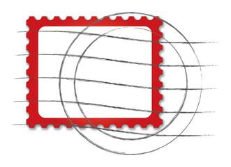 Briefmarkenvorlage mit Stempel in Rot