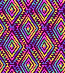 seamless geometric tribal pattern with rainbow colors.