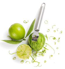 Lime zesting, view from above
