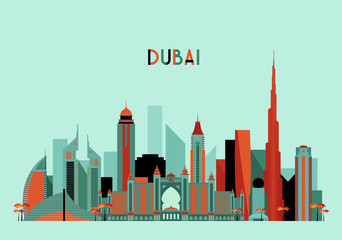 Dubai City Skyline Silhouette. Flat Design, Trendy