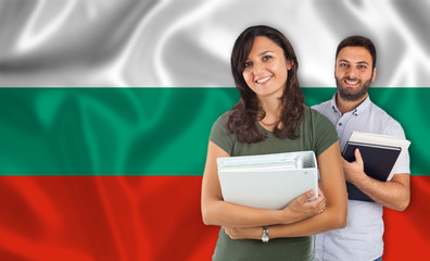 Couple of students over Bulgarian flag