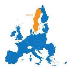 blue map of European Union with indication of Sweden
