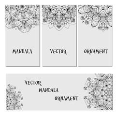 Set mandalas  business card. Round Ornament Pattern. Vintage