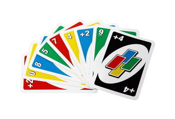 Uno game cards isolated on white background