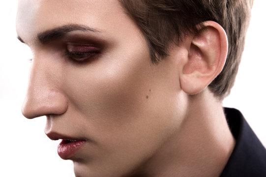 Fashion blonde man makeup