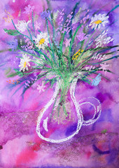 Child's watercolour and pastel picture of flowers