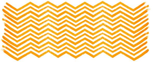 Orange watercolor zigzag pattern on white background