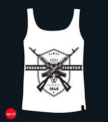 Freedom fighter emblem, with crossed assault rifles, t-shirt design