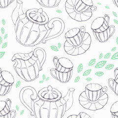 Outline seamless pattern with hand drawn tea porcelain service