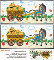 Halloween, autumn or harvest themed visual puzzle: Find the ten differences between the two pictures of donkey pulling a cart with pumpkins in the rainy fall day. Answer included.