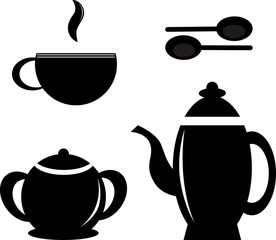 Set icon teapots, teacups, teaspoon and sugar bowl.