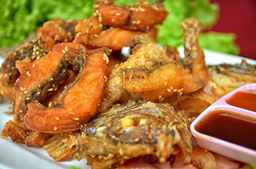 fish fried  Add sesame Thailand delicious food