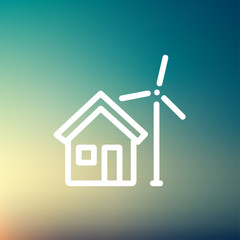 House and windmill thin line icon