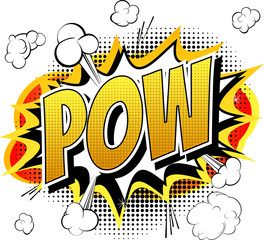 Pow - Comic book, cartoon expression isolated on white background.