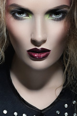 Portrait of a woman with red lips