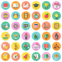 Round vector flat school subjects icons