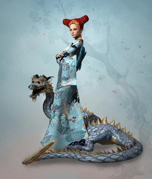 Fantasy lady with dragon
