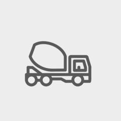 Concrete mixer truck thin line icon