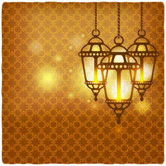 ramadan kareem golden background with shining lanterns