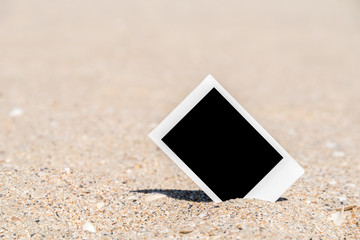 Blank Retro Instant Photo On Beach Sand In Summer