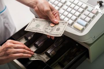 Cash Register, Cashier, Coin.