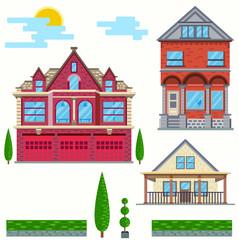 Vector flat illustration. Set of urban and village elements.