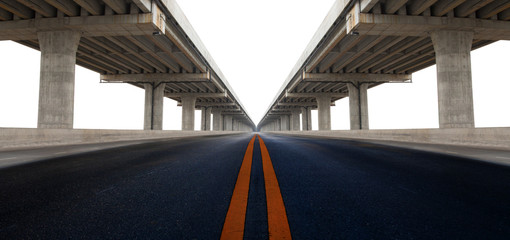 perspective on bridge ram construction and asphalt raod isolated