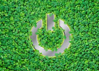 shut Down button on green leaf background