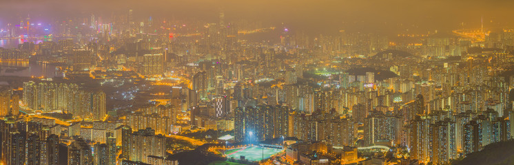 Panorama Aerial view of Hong Kong skyline from kowloon Peak