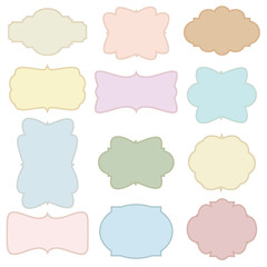 Cute flat and vintage banner label with girly color