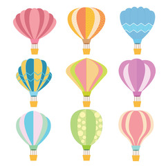Colorful Hot Air Balloon with shape variation and color