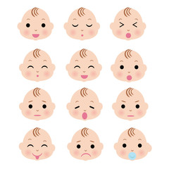 Cute Baby boy face with variation expression