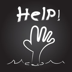 Vector : Help! word over hand in water with White rough Brush st