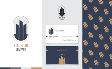 Vector : Real Estate Logo with business name card and corporate